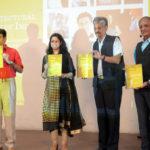(L to R) Ar. Kamal Malik, Ar.Apurva Bose Dutta, Shri Rajiv Mishra, Ar. Prem Nath unveil the book (Pic courtesy: AAJAA)