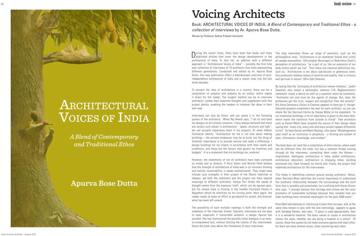 Book: ARCHITECTURAL VOICES OF INDIA   Apurva Bose Dutta